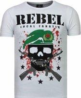 Local Fanatic Skull Rebel - Rhinestone T-shirt - Wit - Maten: L
