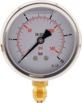 0..10 Bar Glycerine Manometer Verticaal RVS/Messing 63 mm Klasse 1.6 - ML01063SVG