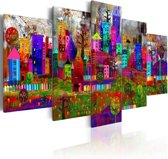 Schilderij - De stad van expressie, 5luik