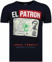 Local Fanatic El Patron Narcos Billionaire - Rhinestone T-shirt - Blauw - Maten: XL