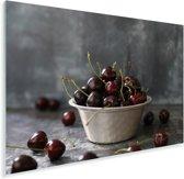 Antieke schaal tot de nok toe gevuld met zoete kersen Plexiglas 120x80 cm - Foto print op Glas (Plexiglas wanddecoratie)