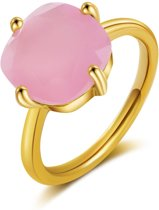 ÉGLANTINE Ring Goud-Roze - Chalcedoon -Maat 55