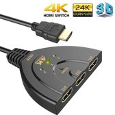 DrPhone HDMI-switch Splitter met Pigtail kabel - 3-poorten 4Kx2K HDMI-switch - 3-in-1-out met high-speed -ondersteunt Full HD 4K 1080P 3D-speler - Zwart