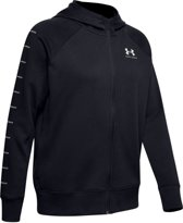 Under Armour Rival Fleece Sportstyle LC Sleeve Graphic FZ Hoodie Dames Sport Trui - Zwart - Maat L