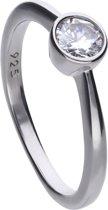 Diamonfire - Zilveren ring met steen Maat 19.0 - Steenmaat 5 mm - Kastzetting