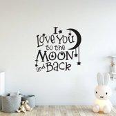 Muursticker I Love You To The Moon And Back -  Groen -  80 x 80 cm  - Muursticker4Sale