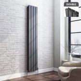 Dubbele Designradiator Thera Flat Verticaal Antraciet 180 x 30 cm