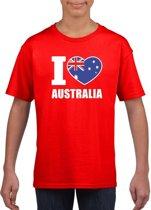 Rood I love Australie supporter shirt kinderen - Australisch shirt jongens en meisjes M (134-140)