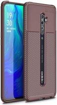 Teleplus Oppo Reno 2 Case Negro Carbon Silicone Brown + Nano Screen Protector hoesje