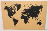 Kurk24 Kurk prikbord Wereldkaart Zwart - 90 x 60cm