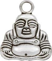 Bedel Buddha (20 x 17 mm) Antiek Zilver (5 Stuks)