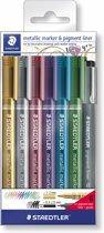 metallic marker - set 6 kleuren + 1  pigment liner