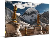 De Aziatische Kailash berg dichtbij het westen van China Aluminium 160x120 cm - Foto print op Aluminium (metaal wanddecoratie) XXL / Groot formaat!
