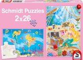 Schmidt puzzel de kleine zeemeermin 2 x 26 stukjes