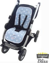 Inlegkussen buggy - Buggy accessoires - Buggy kussen - Buggy inleg - Ster Lichtblauw