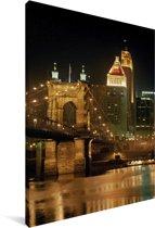 Het verlichte Cincinnati in de Amerikaanse staat Ohio Canvas 90x140 cm - Foto print op Canvas schilderij (Wanddecoratie woonkamer / slaapkamer)