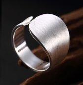 Moderne Zilveren Ring - Handgemaakt - Verstelbaar