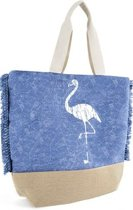 Luna Cove FLAMINGO Strandtas Shopper Canvas Blauw Trendy