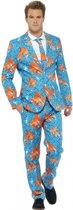 Heren kostuum goudvissen print L