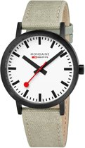 Mondaine A660.30360.61SBG Classic - Horloge - Canvas - 40 mm - Mat zwart IP RVS - Beige