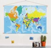 Wereldkaart kleuren schoolplaat(muur decoratie) 60x40 cm ronde stokken - Wereldkaarten.nl