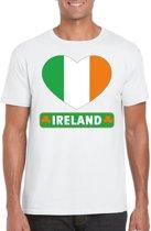 Ierland t-shirt met Ierse vlag in hart wit heren M