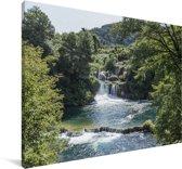 Watervallen in het Nationaal park Krka in Kroatië Canvas 180x120 cm - Foto print op Canvas schilderij (Wanddecoratie woonkamer / slaapkamer) XXL / Groot formaat!