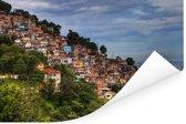 Fantastische foto van een favela onder een prachtig wolkenveld in Brazilië Poster 180x120 cm - Foto print op Poster (wanddecoratie woonkamer / slaapkamer) XXL / Groot formaat!