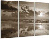 Glas schilderij Zee   Sepia   120x80cm 3Luik   Foto print op Glas    F006438
