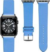 Licht blauwe Lederen Apple horlogeband 42mm) zwarte adapter