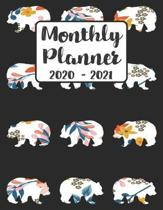 Monthly Planner 2020-2021: Floral Bear - Two Year Calendar Organizer Agenda with Notes, Address, Password, & Dot Grid Pages