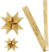 Papieren vlechtstroken, b: 15+25 mm, d: 6,5+11,5 cm, goud, zijde, 32stroken, l: 44+78 cm