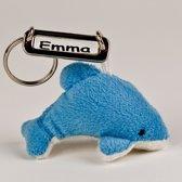 Naam sleutelhanger pluche blauw knuffel dolfijntje