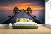 Fotobehang vinyl - Sunset in Thailand foto afdruk breedte 380 cm x hoogte 265 cm - Foto print op behang (in 7 formaten beschikbaar)