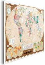 REINDERS Wereldkaart - Schilderij - 90x60cm