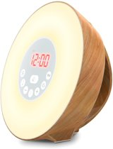 Wake-up light lamp - Hout-look - Wekker - FM Radio - Sfeerlicht met 7 kleuren - Sunrise & Sunset