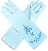 Elsa Frozen handschoenen licht blauw met opdruk bij jurk verkleedkleding