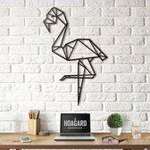 Metalen Wanddecoratie - Flamingo XL- Groot Formaat - Hoagard   52x80 cm  Flamingo Metal Wall Art  Geometrisch Uniek Ontwerp   Ready to Hang  Perfect Interieuridee   Tropisch Decor   Wanddecoratie voor Woonkamer, Keuken, Zomerhuis