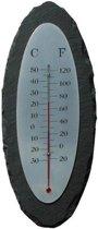 Leisteen/rvs thermometer ovaal