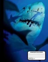 Killer Sharks with Diver Composition Notebook Dot Grid Paper 200 Pages / 100 Sheets, 8-1/2 X 11