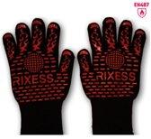 2x Premium RIXESS Hittebestendige BBQ & Oven handschoen - EN 407 CERTIFICAAT - Extra groot voor betere bescherming - beschermt Tot 500 graden/ 932°F - Dubbel gevoerd - hittebestendig – Anti slip handschoenen & Siliconen - Barbecue, Koken,Haardhout
