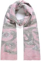 Lange roze sjaal met bloemmotief