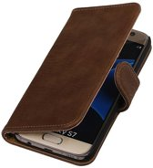 Samsung Galaxy S7 Edge Hoesje Hout Bookstyle Bruin