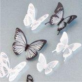 3D Vlinders Met Glitter Stickers / Muurstickers - Zwart / Wit - 18 Stuks
