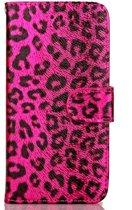 Apple Iphone 6 / 6S Roze bookcase hoesje (jachtluipaard patroon)