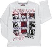 Losan Jongens Shirt Wit met print - g71 - Maat 128