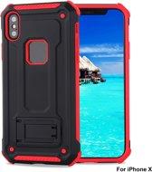 Ntech Apple iPhone X / Xs - Armor hoesje met Kickstand Zwart & Rood