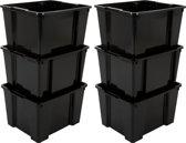 IRIS Handybox opbergbox zonder deksel - 30L - Zwart - 6 stuks