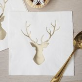 Gingerray Kerst servetten met rendier - metallic goud