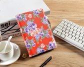 H.K. Draaibaar/Boekhoesje hoesje rood met paarse bloemen geschikt voor Apple Ipad AIR/AIR2/2017/2018 + Glasfolie en Stylus pen